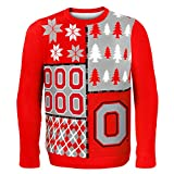 KLEW NCAA Ohio State Buckeyes Busy Block Ugly Sweater, X-Large, Red