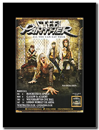 Steel Panther i si può mangiare UK Tour date marzo 2015 Magazine Promo su un supporto, colore: nero