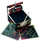 "Creative kids can jot notes, etch doodles, and make their own exciting masterpieces with Mini Scratch Art Notes. Includes 125 Rainbow Mini Notes, a wooden stylus, and a handy ""desktop dispenser"" box to keep it all organized."