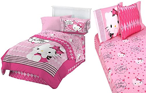 Hello-Kitty-Comforter-Pillow-Shams-Sheet-Set-and-Bedskirt