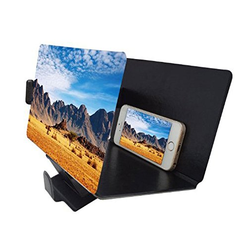 Canyoze Screen Magnifier 3d Smart Mobile Phone Movies Amplifier with Pu Leather Foldable Holder Stand for Any Smartphone iPhone 4 5 6 7 7s Plus, Samsung Galaxy Note 6 5 4 3 Edge All Smart Phones (Mobile Projector For Samsung compare prices)