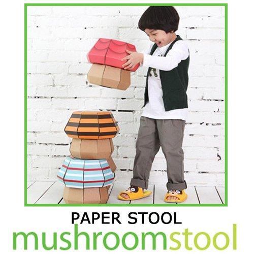 【子供用ダンボール家具】子供椅子「カラーきのこスツール」(ピンクフラワー)