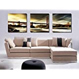 Espritte Art-Huge San Francisco Golden Gate Bridge Picture Painting on Canvas Print without Framed, Modern Home Decorations Wall Art set of 3 Each is 50*50cm #cy-398
