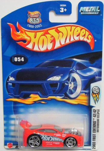 Mattel Hot Wheels 2003 First Editions 1:64 Scale Red Mitsubishi Eclipse Die Cast Car #054