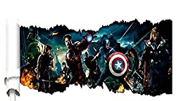 3d Wall Decal - Best Avengers Peel and Stick Decorative Wall Mural - DIY - Vivid Stylish Modern High Quality Wall Art for Your Child s Bedroom - Removable with No Sticky Residue.