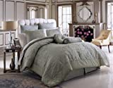 8 PC BELMONT SAGE GREEN / IVORY FLORAL COMFORTER SET W/MATCHING PILLOWS, QUEEN