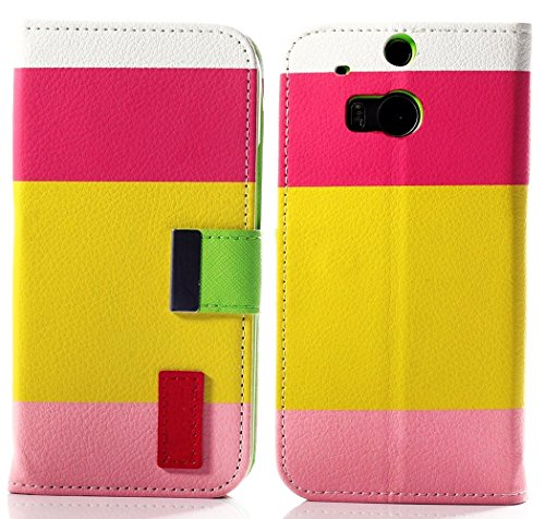 Mylife (Tm) Pink And Lime Green {Color Block Design} Faux Leather (Card, Cash And Id Holder + Magnetic Closing) Slim Wallet For The All-New Htc One M8 Android Smartphone - Aka, 2Nd Gen Htc One (External Textured Synthetic Leather With Magnetic Clip + Inte