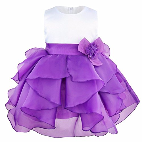 FEESHOW Baby Girls Organza Ruffle Wedding Party Christening Baptism Flower Dress Purple 12-18 Months