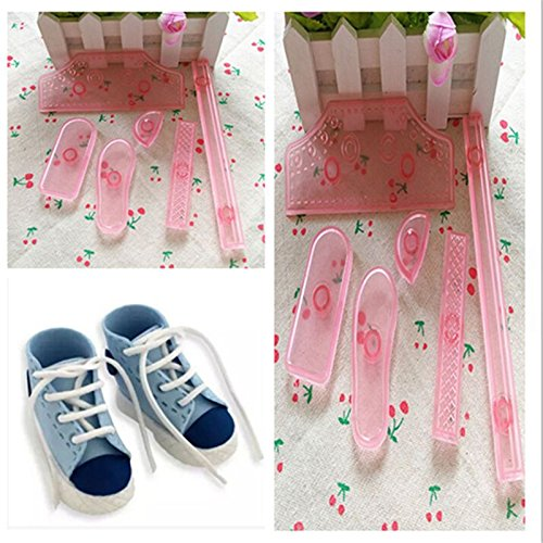 6 Pcs Plastic Sneaker Shoes Cake Cutter Mould Sugar Craft Fondant Baking Tool (Sneaker Cake Pan compare prices)