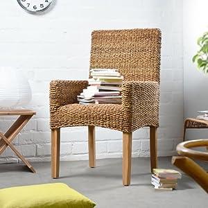 lehnenstuhl stuhl sessel aus naturfaser korb korbstuhl natur neu tikamoon k che. Black Bedroom Furniture Sets. Home Design Ideas