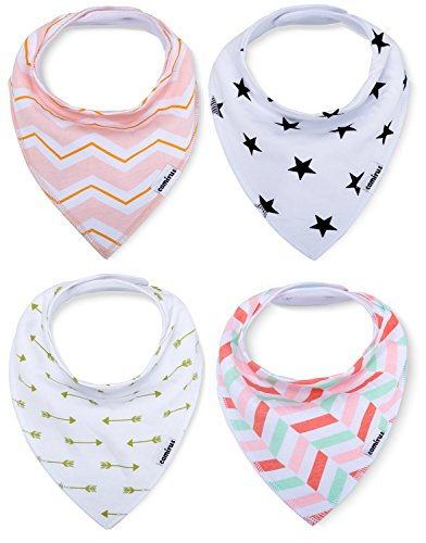 Baby Bandana Bibs - 4 Pack Extra Absorbent Cotton Drool Bibs with Snaps for Boys & Girls Drooling and Teething, Perfect Infant and Toddler Burp Cloth Gift Set By CAMIRUS