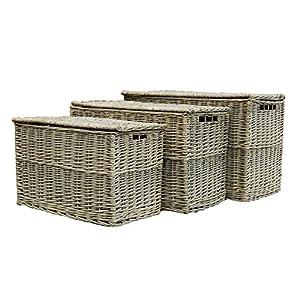 Grey Wicker Set of 3 Storage Hampers / Trunk / Basket / Toy Box / Gift Hamper