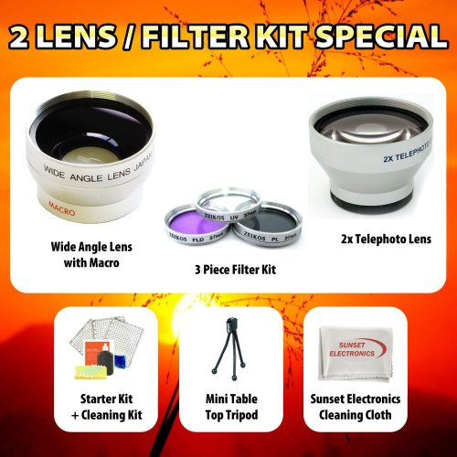 Wide Angle Macro Lens + 2x Telephoto Lens + 3 Pc. Filter Kit for the Samsung HMX-S10BN, HMX-S15BN Full HD Camcorder. kit Includes Lens Cleaning Kit and Lcd Screen Protectors ++More !