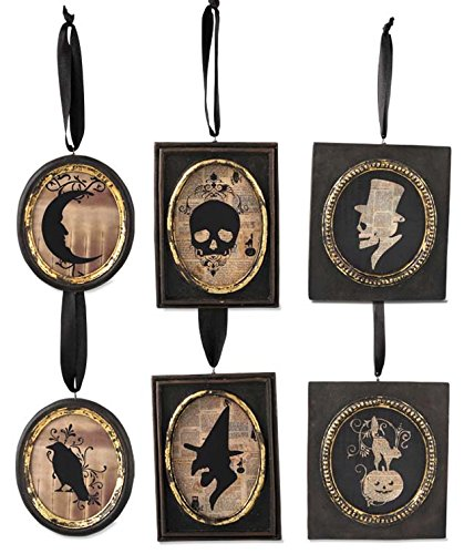 BETHANY LOWE Halloween Gothic Inspired Silhouette Portait Ornaments – Set of 6