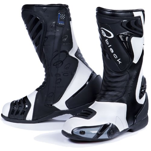 Black Zero Motorcycle Boots 44 White (UK 10)