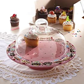 American Atelier Confections Pedestal Cupcake Cake Plate with Glass Dome