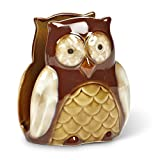 Owl Ceramic Kitchen Napkin Sponge Holder - Brown