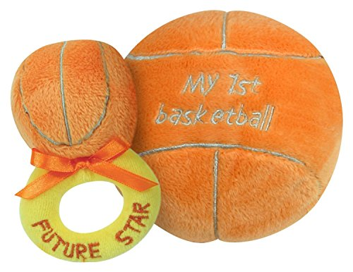 Stephan Baby Sports Fun Ultra Soft Plush My First Basketball and Plush Rattle Ring Set - 1