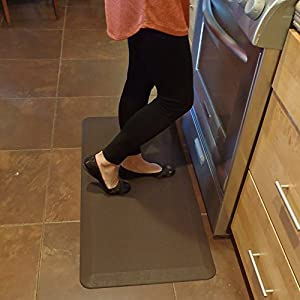 Anti-Fatigue Floor Mat - Premium Professional Grade Comfort by AirMat. Best for Kitchen / Chef, Stand up Desk, Office, Salon. Large Thick Non-Slip Foam Gel. Foot, Knee & Back Pain Relief from Standing. 20 x 36 inch (Black)