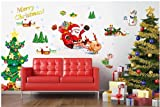 Topro Merry Christmas Santa Claus Christmas Tree Gifts Wall Art Stickers De...
