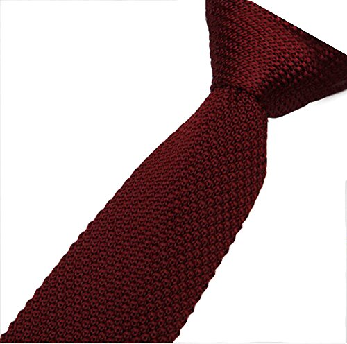 Cravatta maglia Cravatta da uomo cravatta stretta 5cm (Vino rosso)