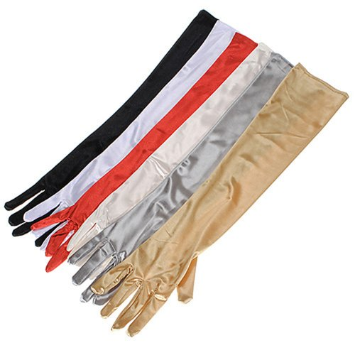 "22"" Women's Long Satin Elbow Gloves Evening Party"