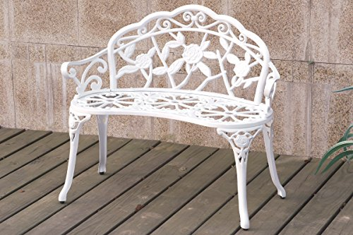 White Patio Garden Outdoor Bench Cast Aluminum Iron Garden Yard Solid Construction