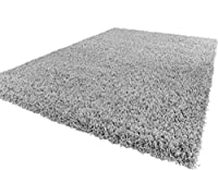 Soft Shaggy Silver Grey Modern Thick Rug 8 Sizes Available from Lord of Rugs