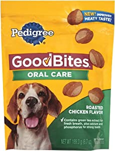 Pedigree Good Bites Oral Care Snack Food for Dogs, Roasted Chicken, 6.7-Ounce (Pack of 5)