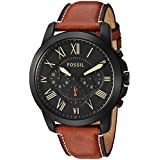 Fossil Men's Quartz Stainless Steel and Leather Casual Watch, Color:Brown (Model: FS5241)