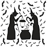 Ivenf Halloween Party Supplies Decorations Wall Decal Window Decor 2 Witches And 40 Bats