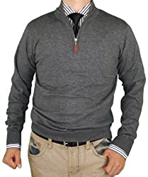 Luciano Natazzi Classic Fit Quarter Zip Mock Neck Sweater Cotton Cashmere Touch (XXXX-Large, Charcoal)