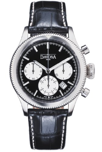 Davosa Men's Automatic Watch with Black Dial Chronograph Display and Black Leather Strap 16100655