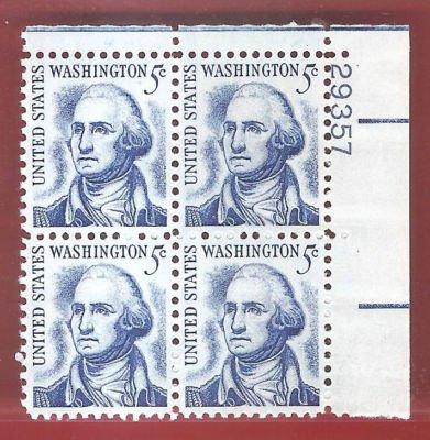 Stamps US George washington Scott 1283B Block Very Fine MNH