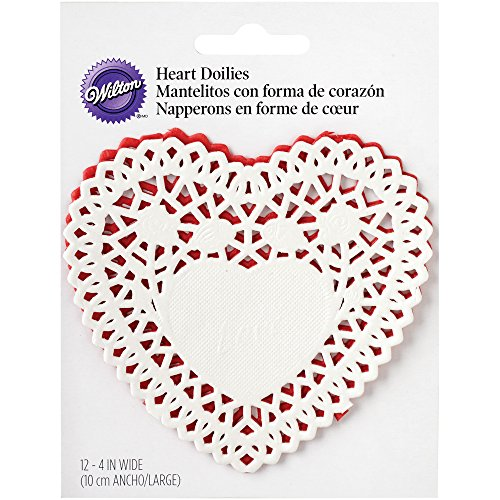 """Wilton 2104-0448 Paper Doilies-Red & White Heart 4"""" 12Pack de/ Sold as a pack of 6"""