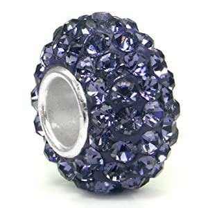 Swaroski Alexandrite Lavender Crystal Ball Bead Sterling Silver Charm Fits Pandora Chamilia Biagi Trollbeads European Bracelet