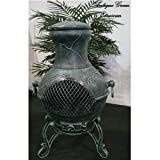 Blue Rooster Etruscan Style Wood Burning Outdoor Metal Chiminea Fireplace Antique Green Color