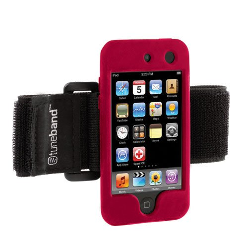 Tuneband For Ipod Touch 4Th Generation (Model A1367, 8Gb/16Gb/32Gb/64Gb), Grantwood Technology'S Armband, Silicone Skin, And Screen Protector, Red front-274808