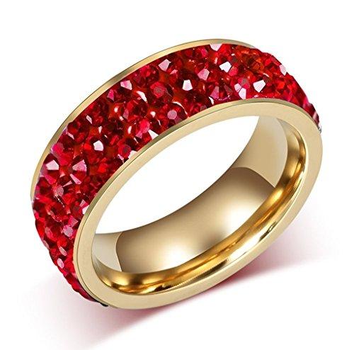 Alimab Gioielli Donne Anelli Acciaio Inossidabile 3 File Brillante Intarsiato Zirconia Cubica Rosso