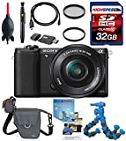 Sony a5100 16-50mm Interchangeable Lens Camera with 3-Inch Flip Up LCD (Black) w/ Flexpod, LowePro Case, Filters, 32GB Memory
