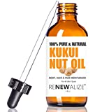 Kukui Nut Oil / Candlenut Oil by Renewalize in LARGE 4 OZ. DARK GLASS BOTTLE with Glass Eye Dropper   Highest Quality 100% Pure, Cold Pressed Oil   Non-GMO   A Fantastic Light Massage Oil