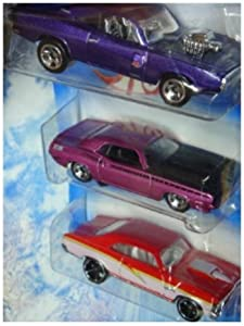 Hot Wheels Diecast '68 Chevy Nova -'70 Dodge Charger - '70 Plymouth AAR Cuda 1/64 Scale