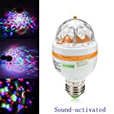 3W E27 LED RGB Rotating Sound-activated Bulb Lamp Party Stage Light