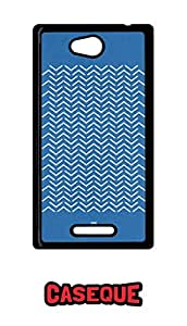 Caseque Chevron Grunge Blue Pattern Back Shell Case Cover For Sony Xperia C