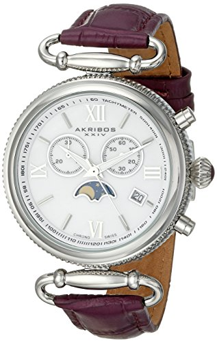 Akribos XXIV Women's Swiss Quartz Watch with Mother of Pearl Dial Analogue Display and Purple Leather Strap AK754PU