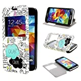 ivencase View Window Painting Art Style Design PU Leather Flip Case Cover for Samsung Galaxy S5 mini SM G800
