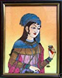 Traditional Elegant Lady & Jam Painting Made with Gem Stones