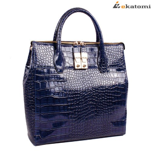 Dark blue Crocodile / Gator Pattern Ladies Laptop Notebook Tote Bag for 11.6″ Acer Chromebook Laptop Netbook