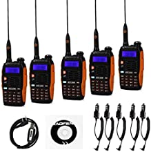 5 Pack Baofeng Pofung GT-3TP Mark-III Tri-Power 841W Two-Way Radio Transceiver Dual Band 136-174400-