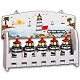 Ceramic Light House Wood Spice Rack & 5 Jars Set